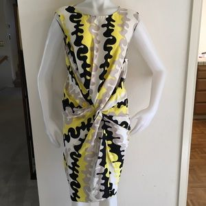 DIANE VON FURSTENBERG B&W Yellow Silk Twist Dress
